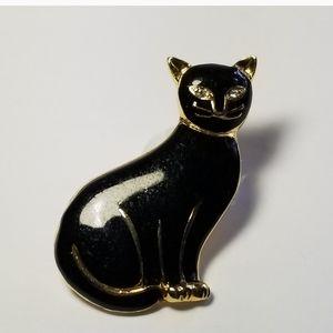 VINTAGE STEINMETZ  SFJ BLACK CAT BROOCH PIN